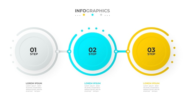 Diseño de vector de plantilla de infografía de línea de tiempo con círculos y números concepto de negocio con tres opciones o pasos
