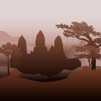 El diseño del vector de la silueta del templo de angkor wat