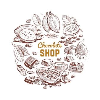 Diseño de vector de tienda de chocolate con granos de cacao bosquejados y barras de chocolate