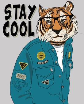 Diseño de vector de tigre cool dibujado a mano para impresión de camiseta