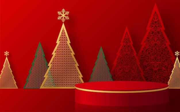 Diseño de vectores de fondo de podio de navidad y año nuevo productos 3d