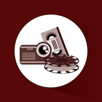 Diseño de vectores de iconos de cine