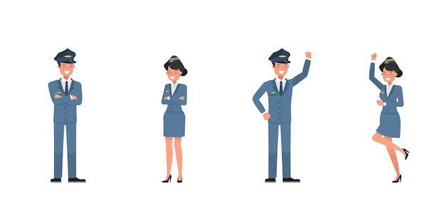 Diseño de vectores de personajes de mayordomo y azafata. presentación en varias acciones. no. 4