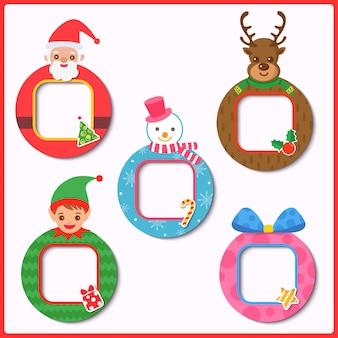 Diseño vectorial de adornos y marco de navidad.