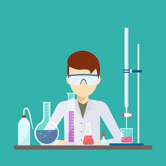 Diseño vectorial de científico con equipo de titulación química.