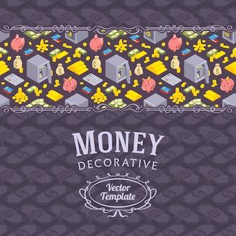 Diseño vectorial de decoración de objetos relacionados con las finanzas.