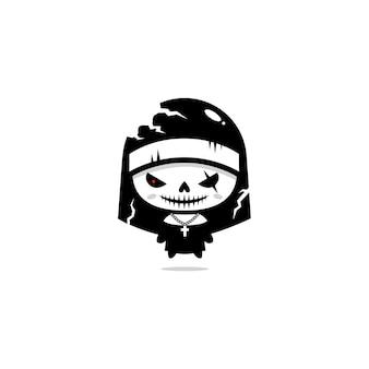 Diseño vectorial de un disfraz de monja de halloween