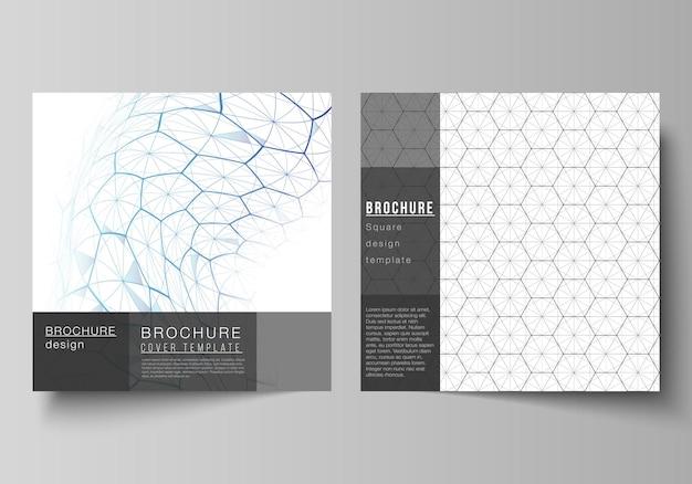 Diseño vectorial de dos plantillas de diseño de portadas de formato cuadrado para folleto, volante. tecnología digital y concepto de big data con hexágonos, puntos y líneas de conexión, antecedentes médicos de ciencia poligonal.