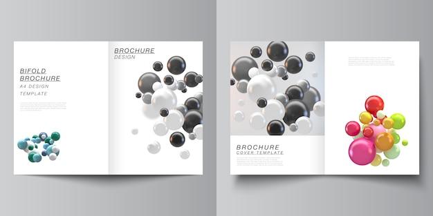 Diseño vectorial de dos plantillas de maquetas de portada a4 para folleto bifold, flyer. fondo abstracto con coloridas esferas 3d