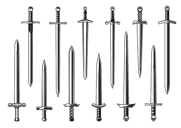 Diseño vectorial de espadas rectas de caballero europeo con arma de guerrero del ejército medieval. daga aislada, cuchillo o espada ancha con hojas de doble filo, empuñaduras, guardias y pomos, diseño de tatuajes y heráldica