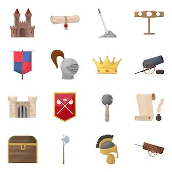 Diseño vectorial de icono medieval e historia. colección de set medieval y torneo