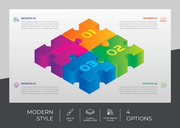 Diseño vectorial de infografía con 4 opciones y concepto de rompecabezas