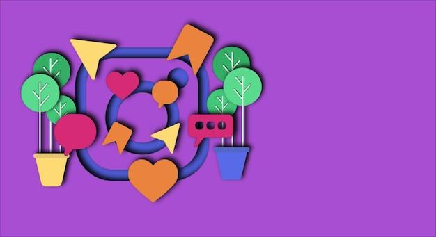 Diseño vectorial de instagram con estilo de arte de corte de papel con espacio de copia