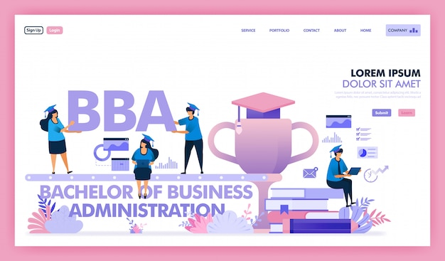 Diseño vectorial de licenciatura en administración de empresas es una universidad