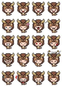 Diseño vectorial de lindo conjunto de mascota de búfalo