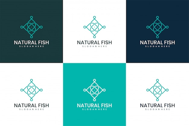 Diseño vectorial de logo de pescado natural.