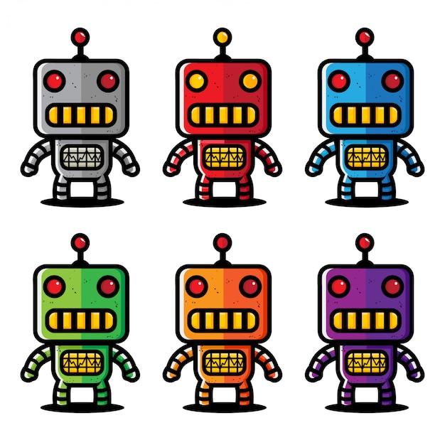 Diseño vectorial de una mascota robot de hierro