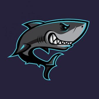 Diseño vectorial de la mascota del tiburón