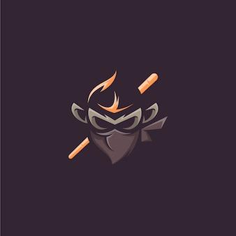 Diseño vectorial mono ninja