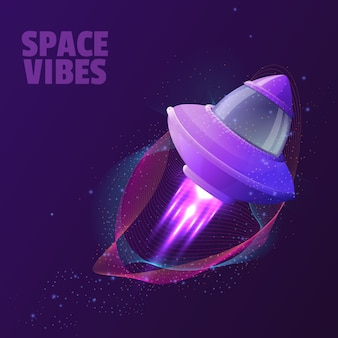 Diseño vectorial con nave espacial.