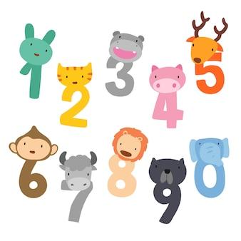 Diseño vectorial de números arábigos y animales cabeza