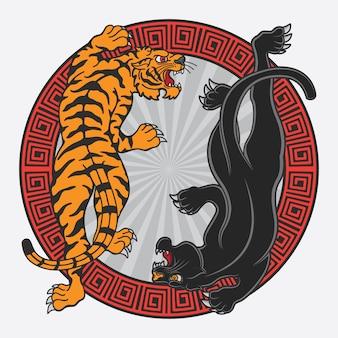 Diseño vectorial de pantera negra y tigre flash de tatuaje.