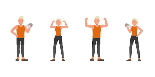 Diseño vectorial de personajes de hombre y mujer de deporte. presentación en varias acciones. no. 4