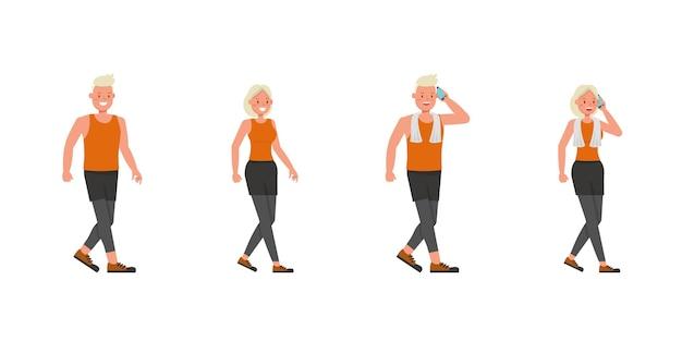 Diseño vectorial de personajes de hombre y mujer de deporte. presentación en varias acciones. no10
