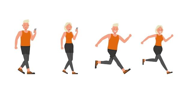 Diseño vectorial de personajes de hombre y mujer de deporte. presentación en varias acciones. no11