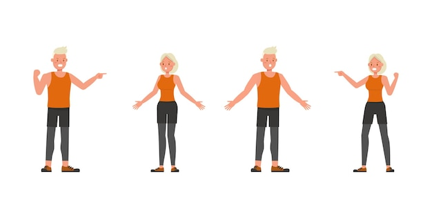Diseño vectorial de personajes de hombre y mujer de deporte. presentación en varias acciones. no6