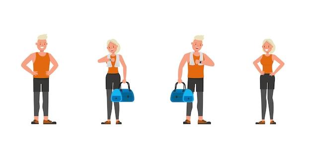 Diseño vectorial de personajes de hombre y mujer de deporte. presentación en varias acciones. no7