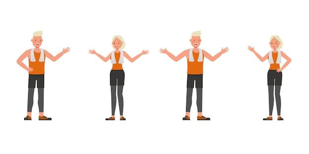 Diseño vectorial de personajes de hombre y mujer de deporte. presentación en varias acciones. no9