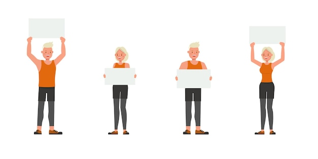Diseño vectorial de personajes de hombre y mujer de deporte. presentación en varias acciones. numero 3