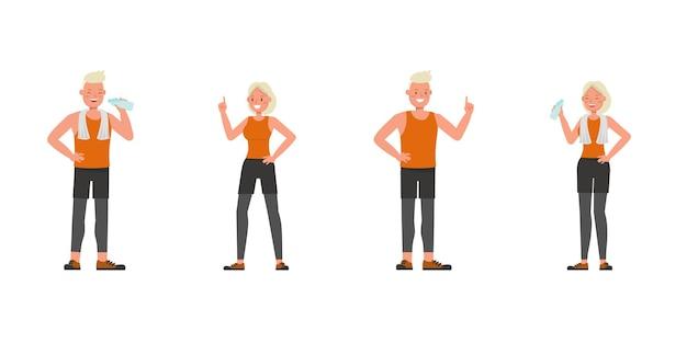 Diseño vectorial de personajes de hombre y mujer de deporte. presentación en varias acciones. numero 5