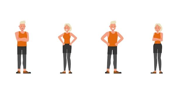Diseño vectorial de personajes de hombre y mujer de deporte. presentación en varias acciones.