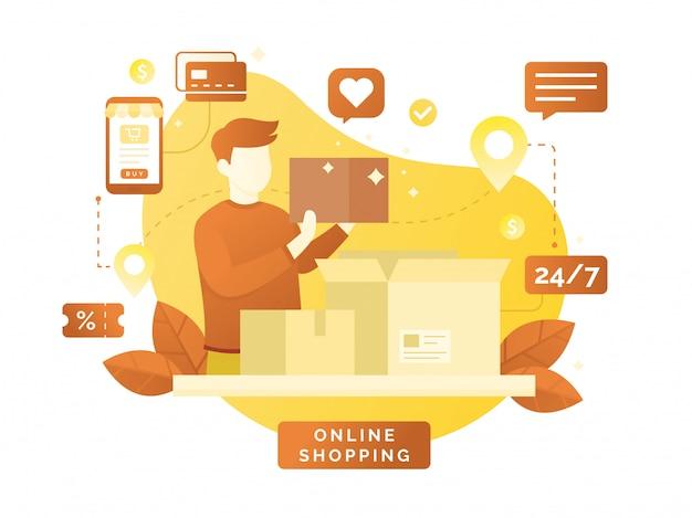 Diseño vectorial plano con comercio electrónico y compras en línea.