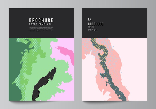 Diseño vectorial de plantillas de diseño de maquetas de portada a4 para folleto, diseño de volante, diseño de portada, diseño de libro, portada de folleto. plantilla de patrón japonés. decoración de fondo de paisaje en estilo asiático.