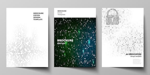 Diseño vectorial de plantillas de diseño de maquetas de portadas en formato a4 para folleto