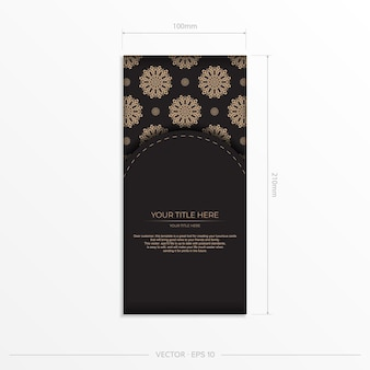 Diseño vectorial presentable de postal en color negro con motivos árabes. invitación elegante con adornos vintage.