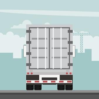 Diseño vectorial de remolque contenedor de exportación. logística de transporte