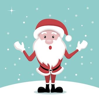 Diseño vectorial de tarjeta de navidad de dibujos animados de santa claus