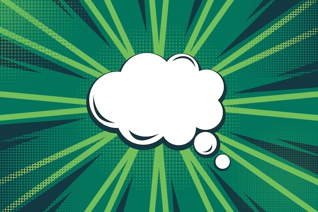 Diseño de velocidad verde y fondo de estilo cómico de burbuja de chat