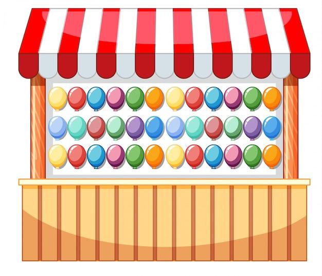 Diseño de vendedores en el parque de atracciones con globos