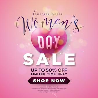 Diseño de la venta del día de la mujer con corazón de globo de aire