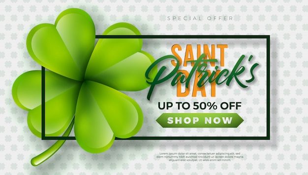 Diseño de venta del día de san patricio, con trébol verde y letra de tipografía sobre fondo blanco. vector plantilla de diseño de lucky holiday irlandés para cupones, pancartas, vales o carteles promocionales.