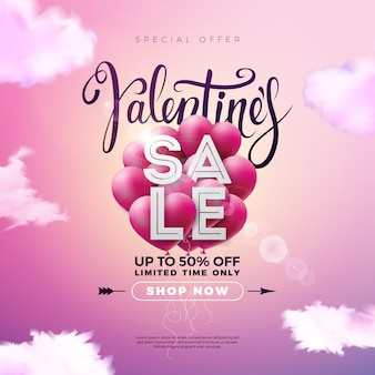 Diseño de venta del día de san valentín con globo de corazón rojo