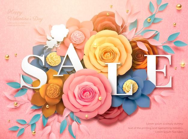Diseño de venta de feliz día de san valentín con flores de papel de colores en la ilustración 3d