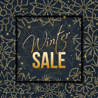Diseño de venta de navidad y año nuevo con marco cuadrado, copos de nieve dorados sobre fondo negro.