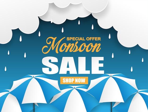 Diseño de venta de temporada de monzón