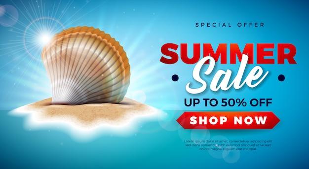 Diseño de venta de verano con cáscara sobre fondo de isla tropical